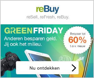 Greenfriday anderen besparen geld, jij bespaart tot 60% t.o.v. nieuw en ook het milieu